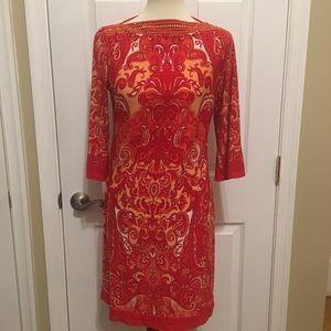 Sandra Darren Orange Paisley Dress Size 6